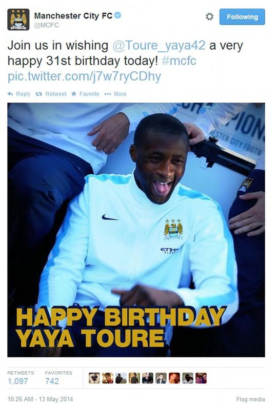 Sinh nhật của cầu thủ quan trọng như Toure chỉ có vậy