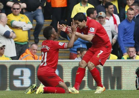 Suarez và Sterling ăn mừng bàn thắng vào lưới Norwich