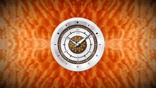Mặt đồng hồ chỉ giờ cũng có họa tiết hình mặt trời.