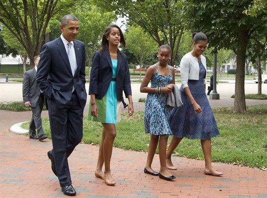 Gia đình Tổng thống Mỹ Barack Obama. Ảnh: AP