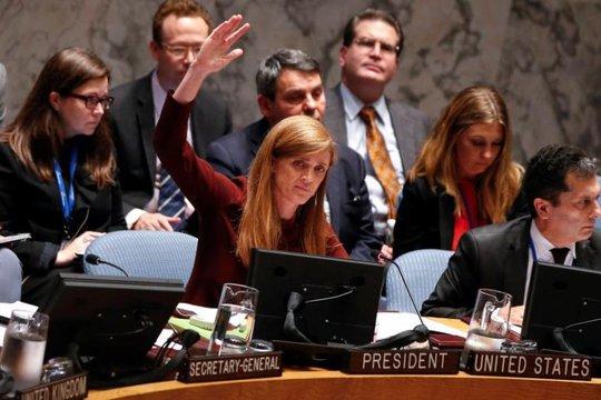 Đại sứ Mỹ Samantha Power (giữa) tại Liên Hiệp Quốc. Ảnh: Reuters
