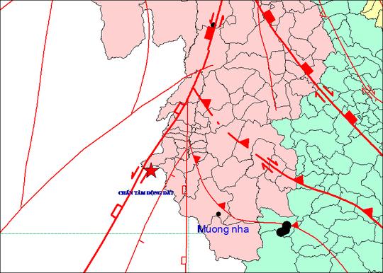 Tâm chấn trận động đất ở Điện Biên