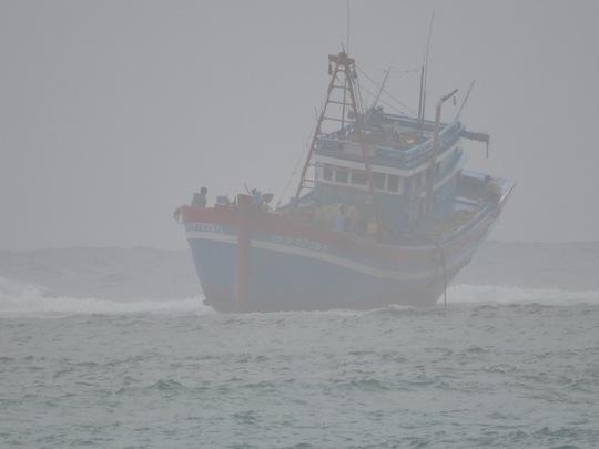 Tàu cá QNg 97235 TS bị mắc cạn tại vùng biển Lý Sơn và có khả năng bị sóng biển nhấn chìm.