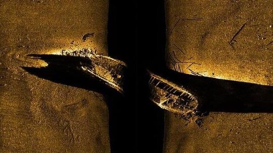 Hình ảnh siêu âm chụp tàu HMS Erebus dưới đáy biển. Ảnh: AP
