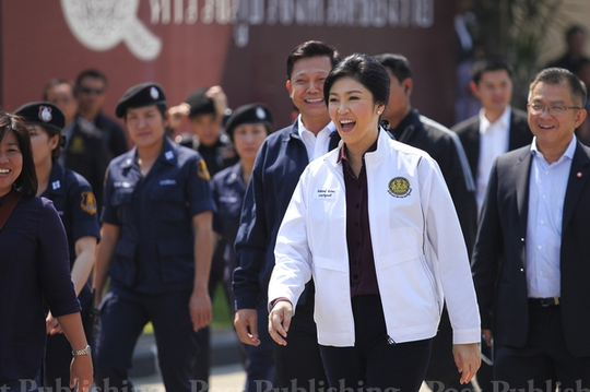 Bà Yingluck đến Chiang Rai ngày 26-2... Ảnh: Bangkok Post