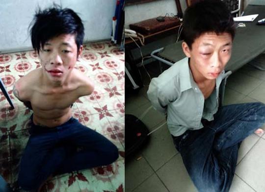 """Đối tượng Nguyễn Vinh Hưng (ở trần) và La Chí Thành (bị bầm mắt khi đụng vào nhà dân), bị các """"hiệp sĩ"""" cùng trinh sát hình sự đặc nhiệm bắt nóng."""