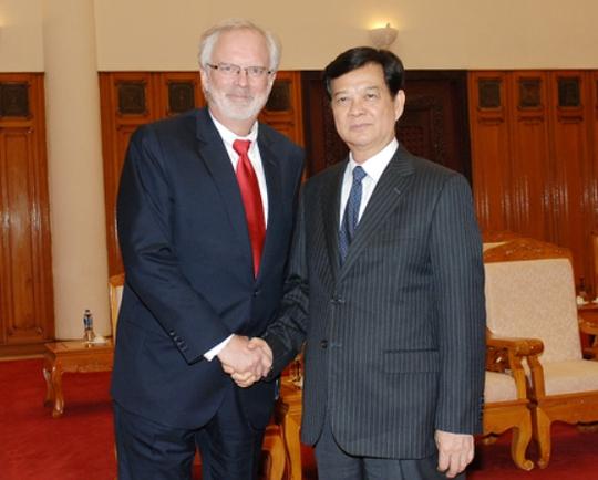 Thủ tướng Nguyễn Tấn Dũng tiếp Đại sứ Mỹ David Shear nhân dịp Đại sứ kết thúc nhiệm kỳ công tác tại Việt Nam