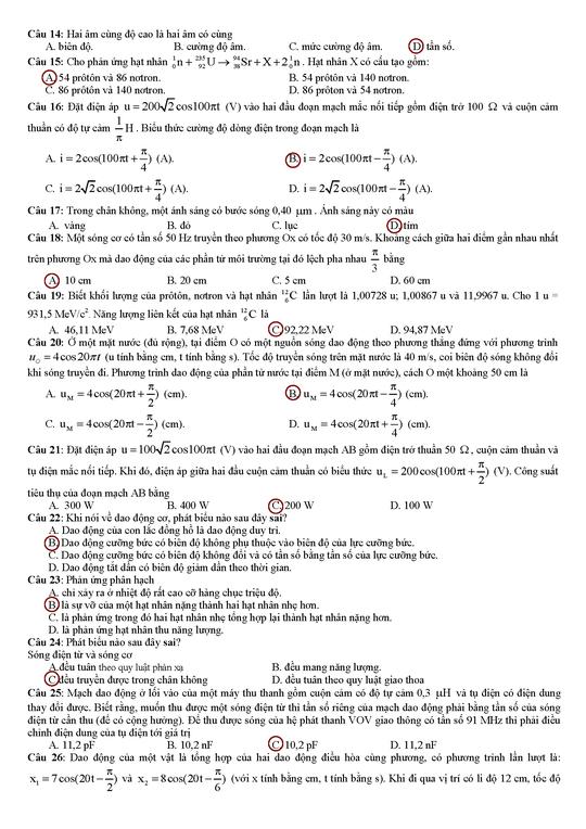 Gợi ý giải đề thi tốt nghiệp THPT môn vật lý