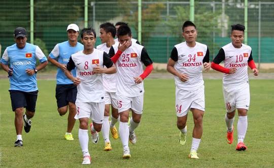 Olympic Việt Nam tập luyện tích cực cho trận đấu với Olympic UAEẢnh: HẢI ANH