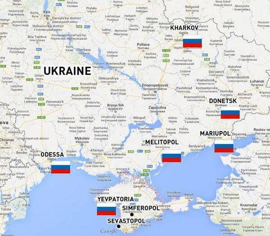 Cờ Nga đã được cắm tại trụ sở hành chính của những thành phố này thuộc Ukraine. Ảnh: RT