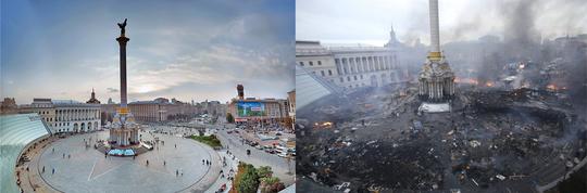 Quảng trường Độc lập ở Kiev trong tháng 9-2009 là thiên đường nếu so với hình ảnh vào sáng 19-2-2014. Ảnh: Flickr - Reuters