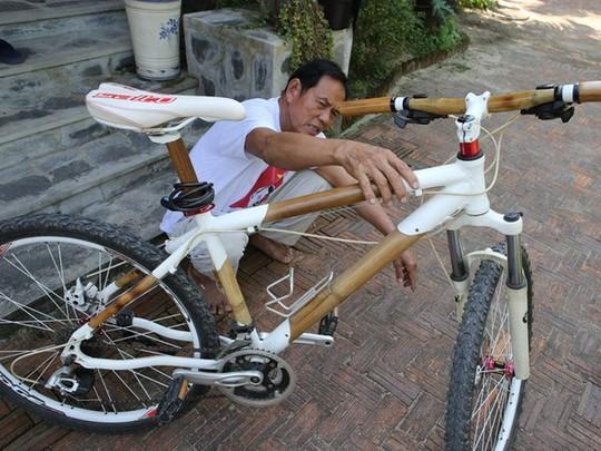Khung xe thể thao bằng kim loại đã được ông Mười thay thế bằng khung tre gai. (Ảnh: Trần Lê Lâm/Vietnam+)