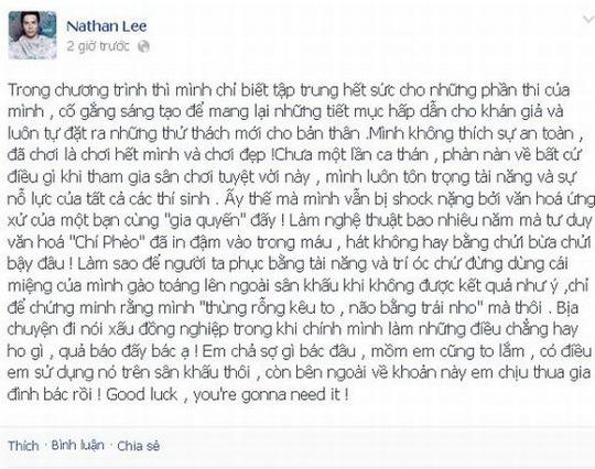Dòng chia sẻ của Nathan Lee được cho là khơi nguồn lùm xùm với Kasim Hoàng Vũ