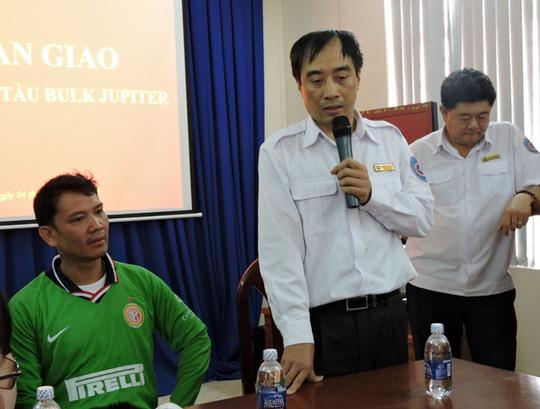 Ông Nguyễn Anh Vũ – tổng giám đốc VMRCC, phát biểu khi bàn giao các thuyền viên của Tàu Bulk Jupiter