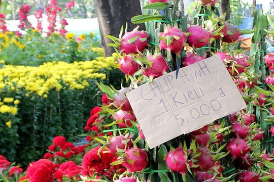 Chủ các gian hàng hoa phải treo bảng phụ thu 5.000 đồng/kiểu ảnh để hạn chế khách chụp hình.