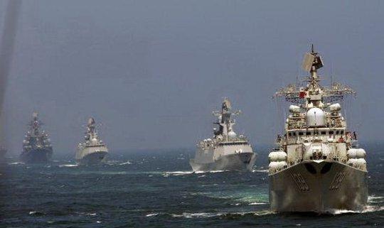 """Cuộc tập trận """"Liên Hiệp Trên Biển - 2014"""" giữa Trung Quốc và Nga - Ảnh: Chinanews"""