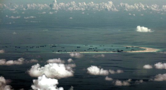 Chinas alleged on-going reclamation of Mischief Reef in the Spratly Islands.