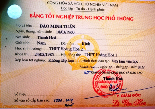 Ông Đỗ Minh Tuấn, Bí thứ kiêm Chủ tịch UBND xã Hoằng Trung dùng 2 bằng tốt nghiệp, 2 tên khác nhau