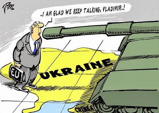 Một biếm họa khác của Charlie Hebdo về cuộc xung đột Ukraine. Ảnh: Fortruss