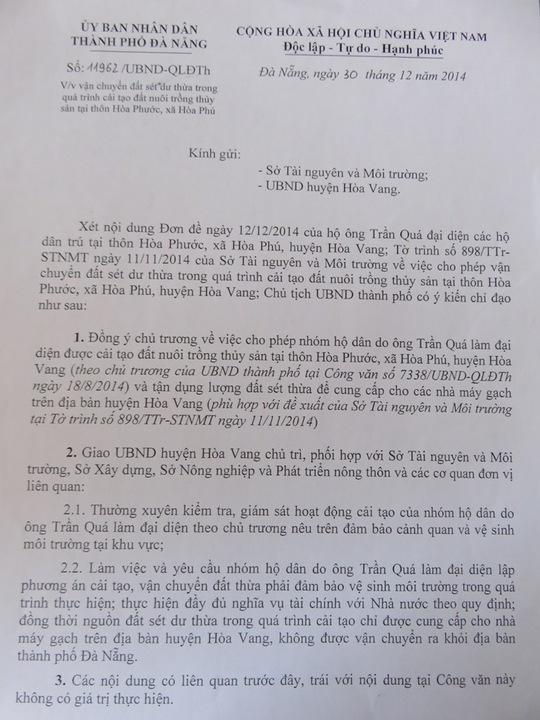 Công văn 11962/UBND-QLĐT ký ngày 30-12-2014 của nguyên chủ tịch UBND TP Đà Nẵng Văn Hữu Chiến