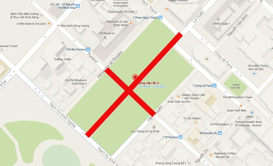Đoạn đường cấm lưu thông trong vòng 1 tháng (màu đỏ).