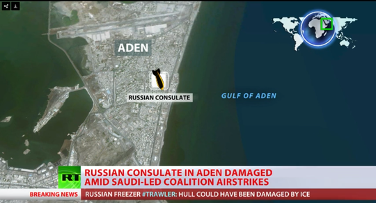 Lãnh sự quán Nga tại Aden bị hư hại do các cuộc không kích của liên minh Ả Rập. Ảnh: RT