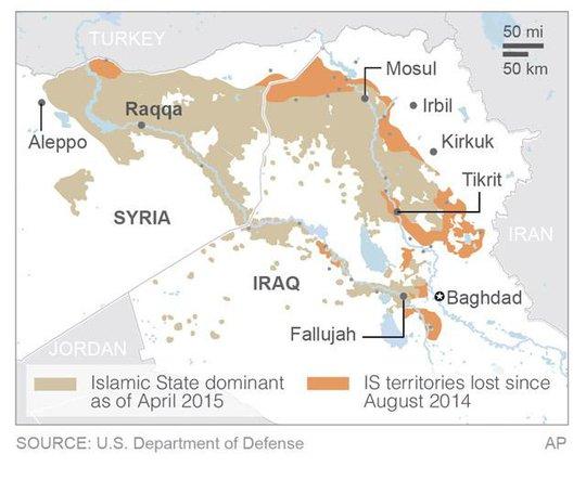 IS mất 16.800 km2 đất tại Iraq nhưng chiếm thêm được một số vùng lãnh thổ ở Syria kể từ tháng 8-2014. Ảnh: AP