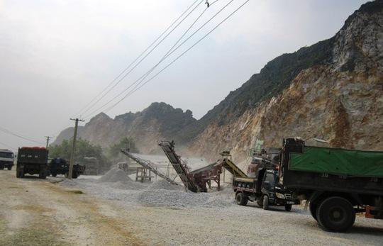 Khu vực mỏ khai thác đá ở xã Hoàng Sơn, huyện Nông Cống - Thanh Hóa, nơi xảy ra vụ tai nạn