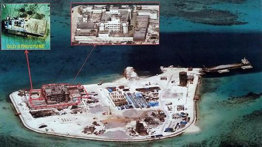 Hình ảnh Trung Quốc cải tạo Đá Gạc Ma trong quần đảo Trường Sa do Philippines cung cấp. Ảnh: EPA