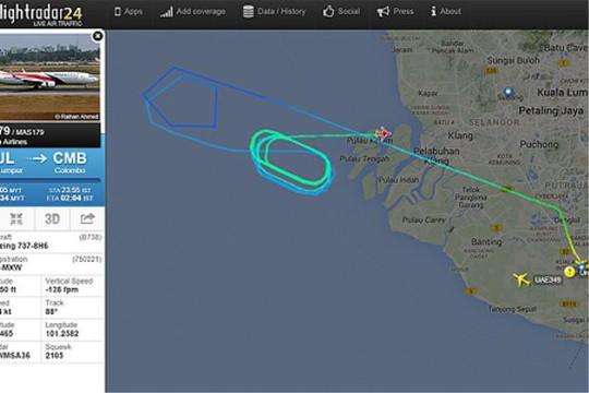 Chiếc MH179 lượn quanh eo biển Malacca trong vài giờ để đốt bớt nhiên liệu trước khi đáp xuống sân bay Kuala Lumpur. Ảnh: The Star
