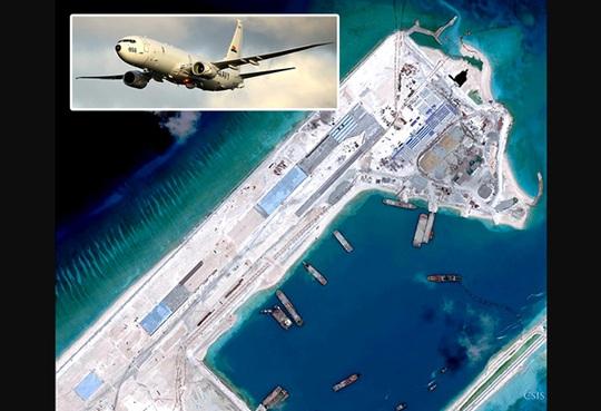 Hình ảnh do máy bay P-8A Poseidon chụp được cho thấy Trung Quốc đang cải tạo Đá Chữ Thập trong quần đảo Trường Sa của Việt Nam. Ảnh: Phil Star