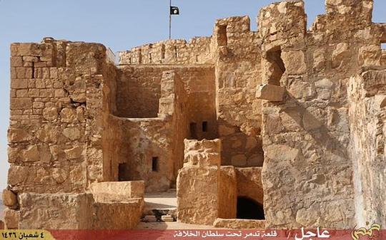 IS treo cờ trên lâu đài Palmyra. Ảnh: Telegraph