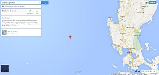 Google hiện chỉ dùng tên Scarborough thay cho Hoàng Nham. Ảnh: Inquirer