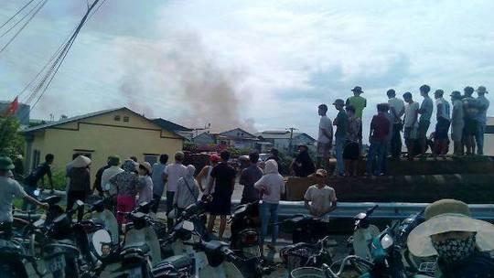 Hiện trường vụ cháy tại Cụm công nghiệp làng nghề Liên Hà (ảnh CTV)