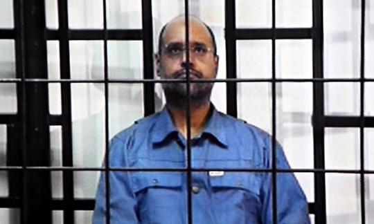 Saif al-Islam Gaddafi trong một phiên tòa ở Libya. Ảnh: EPA