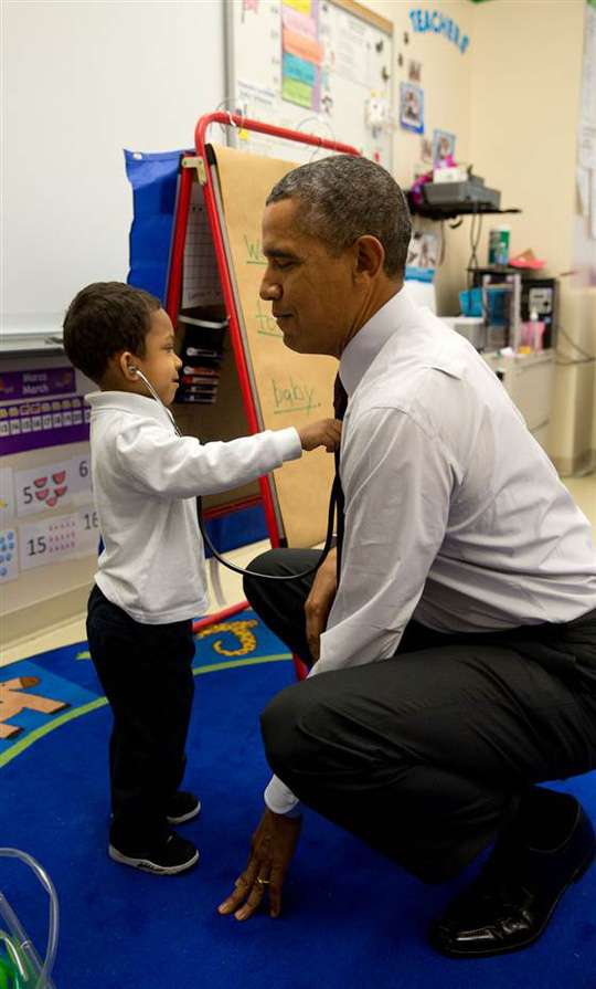 March 4, 2014 The President was visiting a classroom at Powell Elementary School in Washington, D.C. A young boy was using a stethoscope during the c...