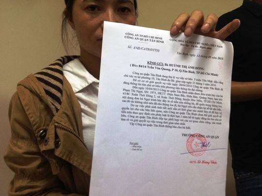 Văn bản trả lời của Công an quận Tân Bình vừa gửi đến chị Hồng vào sáng 12-5.