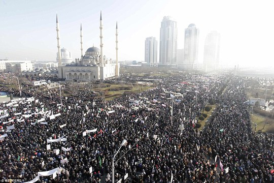 The rally took place near the Heart of Chechnya mosque in Grozny, with the regional leader denouncing Charlie Hebdo as vulgar and immoral