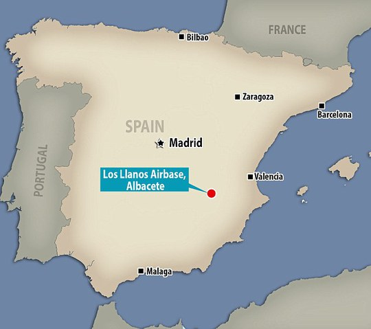 Sự cố diễn ra ở khu vực Đông Nam Tây Ban Nha ngày 26-1 tại căn cứ quân sự Los Llanos. Ảnh: Daily Mail
