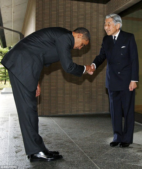 How low can he go: In 2009, President Barack Obama caused embarrassment when he was photographed bending to nearly a 90 degree angle when he greeted the Japanese Emperor at the Imperial Palace