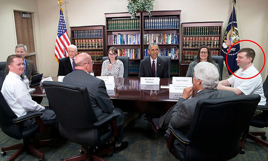 Surprise!: Lance Futch (right) was shocked on Friday when his meeting with a Federal White House official about jobs for veterans turned out to be with President Obama
