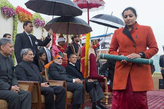 Tổng thống Obama khép lại chuyến công dy kéo dài 3 ngày tại Ấn Độ hôm 27-1. Ảnh: New York Times