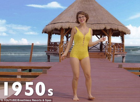 Figure flattering: Boy briefs were still popular in the 1950s, and Amanda can be seen posing in a sunny yellow suit inspired by the style of the decade
