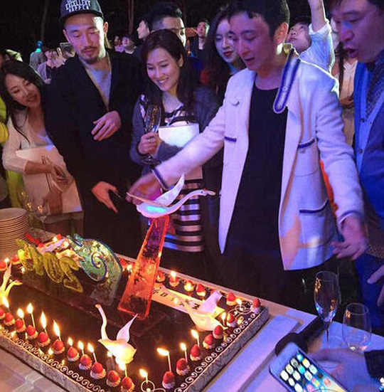 Party time: Wang Sicong celebrated his 27th birthday in January at a resort in Sanya. Many celebrities were invited to his party and Korean girls band, T-ara, staged a private concert for him