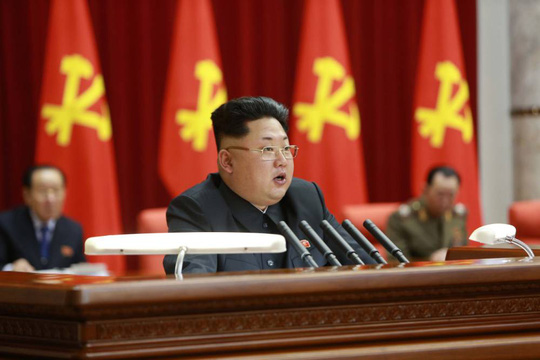 19 Feb 2015, Pyongyang, North Korea --- (150219) -- PYONGYANG, Feb. 19, 2015 (Xinhua) -- Photo provided by Korean Central News Agency (KCNA) on Feb. 19, 2015 shows an enlarged meeting of the Political Bureau of the Central Committee of the Workers Party of Korea (WPK) taking place in Pyongyang on Wednesday under the guidance of top leader of the Democratic Peoples Republic of Korea (DPRK) Kim Jong Un. A resolution adopted at the meeting underscored the need to stick to and carry out the behests of late leader Kim Jong Il. (Xinhua/KC --- Image by © KCNA/Xinhua Press/Corbis
