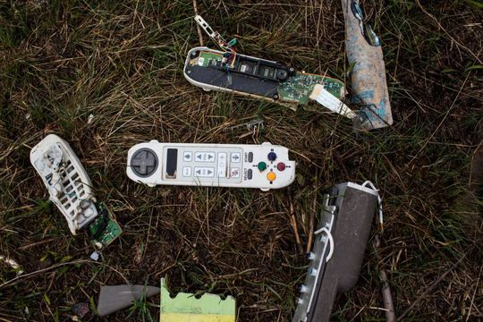 Parts of onboard electronics on the main crash site near Grabovo village MH17 - HOLD FOR KEITH POOLE