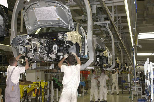 Production line in Volkswagen AG in Kassel, Germany