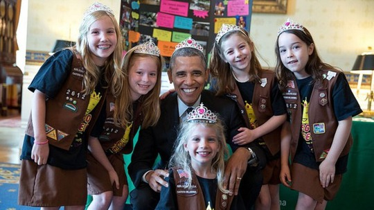 President Obama poses as a princess with Girl Scouts