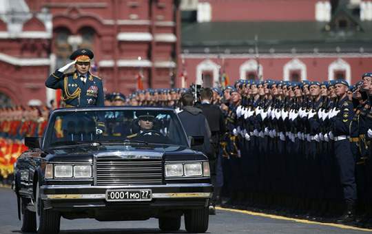 Russian Defence Minister Shoigu takes part in the Victory Day parade at Red Square in Moscow
