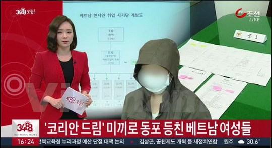 Kênh truyền hình Chosun TV, Hàn Quốc đưa tin về vụ việc trên ngày 23-6. Ảnh: Phạm Duy/Vietnam+